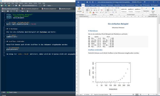 Beitragsbild R Studio und Microsoft Word